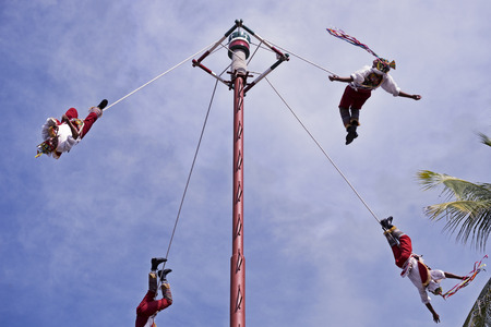 The Danza de los Voladores (Dance of the Flyers), or Palo Volador (pole flying), is an ancient Mesoamerican ceremonyritual still performed today in Mexico. It is believed to have originated with the Nahua, Huastec and Otomi peoples in central Mexico. The Editorial