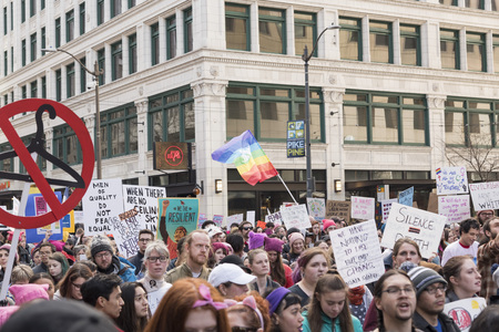 marchers: Editorial Womens day March January 21st 2017 Seattle Wa, activist marchers waving protest signs Editorial
