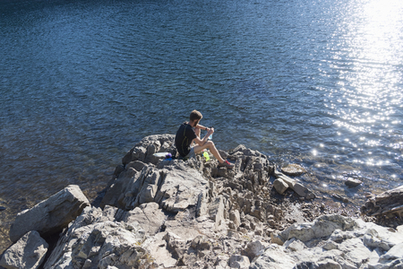 pacific crest trail: Filling water bottles near the Pacific Crest Trail