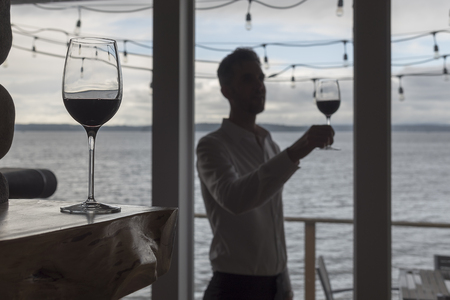 Silhouetted man with red wine Banco de Imagens - 79918148