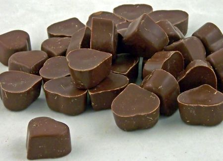 sweetest: a close-up of heart shaped milk chocolates
