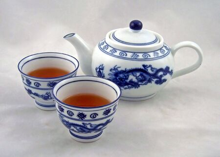 quenching: cups of chinese hot tea with teapot