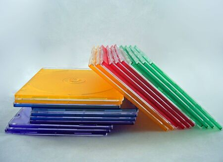 photograph of cd cases of different colors Stock Photo