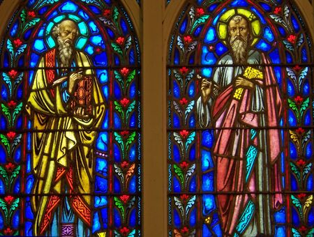 repent: church stained glass window of the disciples