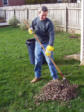 man raking autumn leaves in the yard Stock Photo