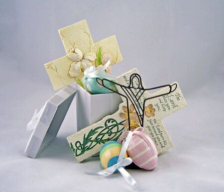gospels: celebration gift box with cross and easter eggs Stock Photo