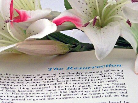 gospels: holy bible opened to the resurrection of christ