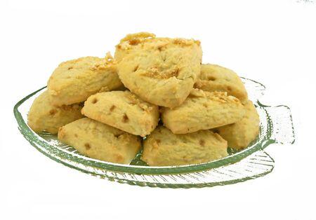 toffee: heerlijke caramel toffee scones in glazen schaal Stockfoto