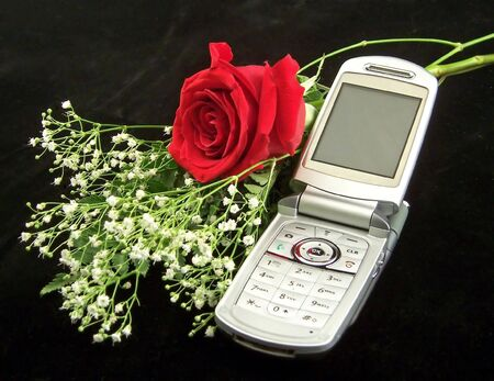 tender sentiment: mobile phone gift with one red rose