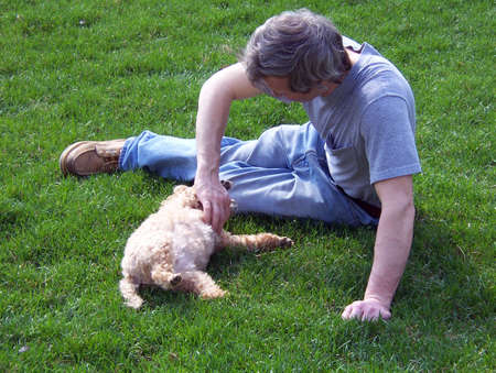man petting poodle outside in the backyard Stock Photo - 835719
