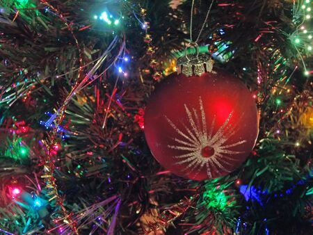 christmas holiday ornament hanging in lighted tree