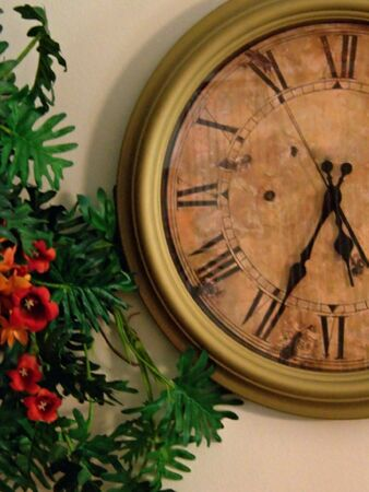 pm: antique style wall clock five thirty four pm