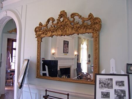 vintage mirror in historical museum;  a winter colony mansion built in 1931