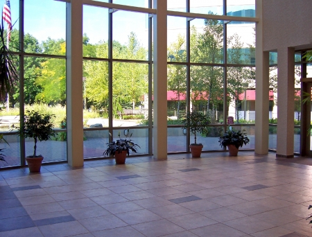 a window on the world: interior view of lobby with beautiful windows