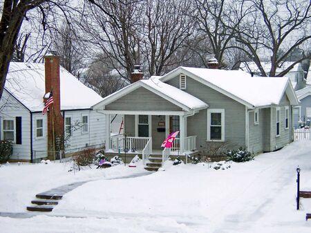 winter scene  home in urban neighborhood  photo