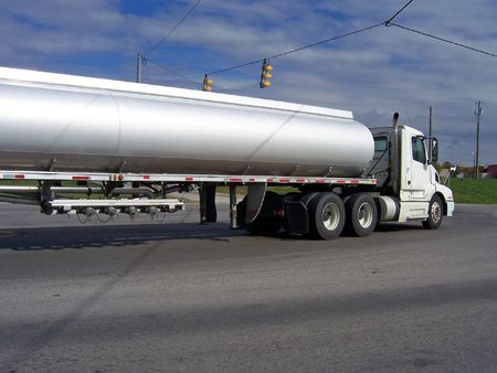 big tanker gas fuel truck on highway Stock Photo