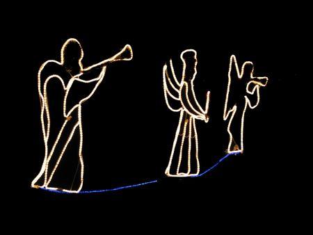 hark: herald angels in beautiful white Christmas lights