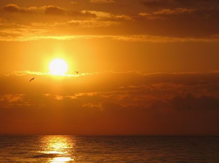 un hermoso amanecer en Florida de Sanibel Island Foto de archivo