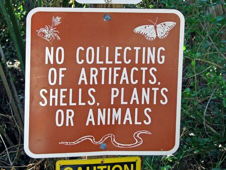 collecting: no collecting of artifacts shells plants or animals sign