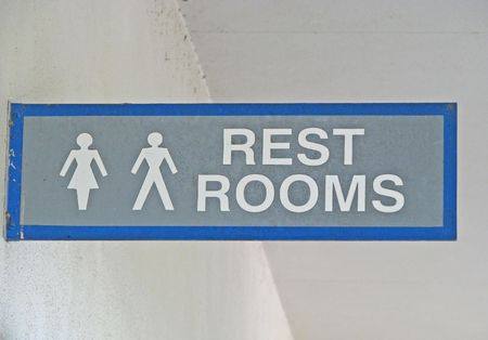 old restrooms sign with men women characters Stock Photo