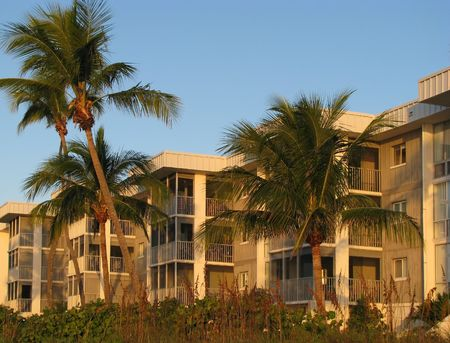 oceanfront: beautiful condo complex on the Florida beach
