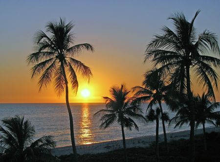 a beautiful sunset on Sanibel Island Florida Stock Photo