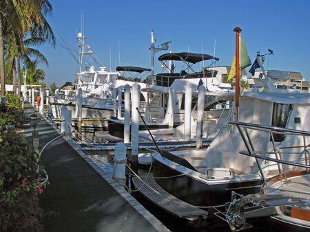 docked: barcos atracados en un puerto deportivo sur de la Florida