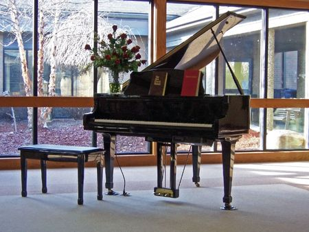 a piano against windows in home parlor