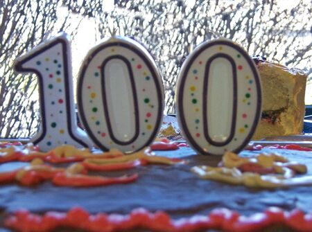 centenarian: birthday cake with candles shaped in 100