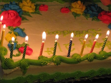 close-up of birthday cake with lighted candles Stock Photo - 2600182