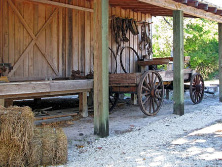 overhang: 1890 historical packing house with farm wagon