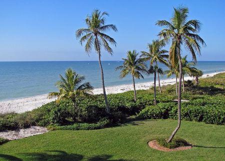 아름다운 열대 해변 해안 Sanibel 섬 플로리다 스톡 콘텐츠