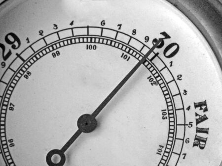 atmospheric pressure: barometer with needle pointing towards fair weather Stock Photo