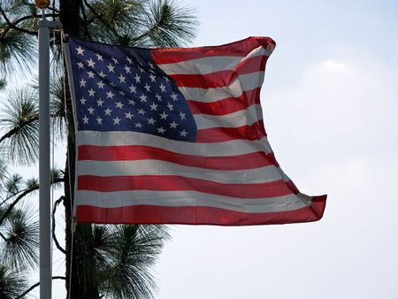American flag blowing in the gentle breeze Stock Photo - 3281244
