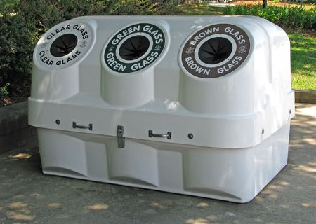 recycle area: glass recycle bins at highway roadside park