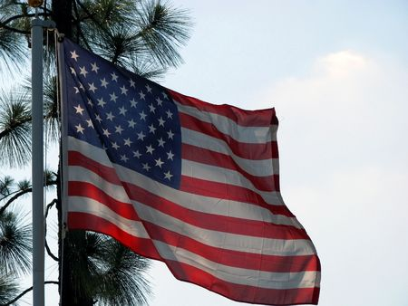 American flag blowing in the gentle breeze Stock Photo - 3289627