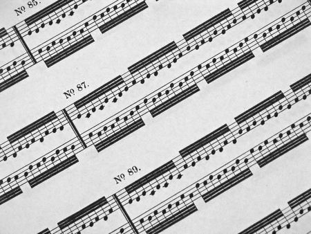 unbound: close-up of a sheet of piano music Stock Photo