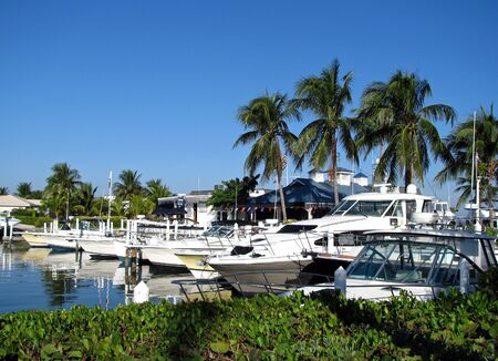 docked: boats docked at a south Florida marina Stock Photo