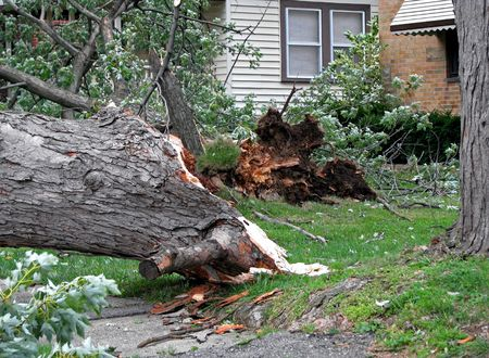 home destruction: strong wind storm damage in midwest neighborhood