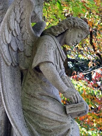angel statue against colorful autumn tree leaves