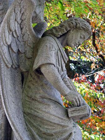 Engel Statue gegen bunte Herbst Baum Blätter Standard-Bild - 3721602