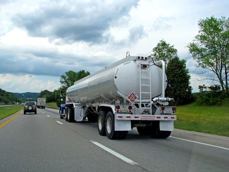 big fuel gas tanker truck on highway Stock Photo - 4237369