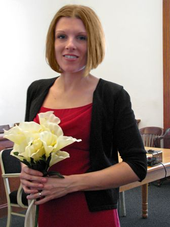 beautiful young bride after courthouse wedding ceremony