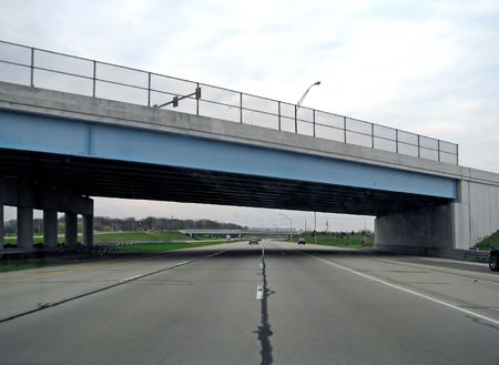 flyover: blue bridge overpass on highway interstate USA