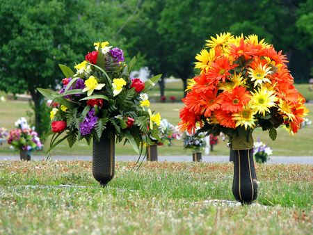 Colorful Silk Flower Vases In Summer Cemetery Stock Photo Picture