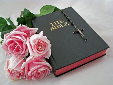 różaniec: jeden różaniec krzyż różowe róże i bible