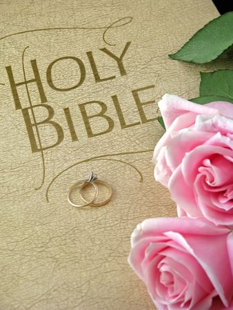 pink roses and wedding rings on holy bible Stock Photo