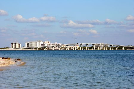Sanibel 코즈웨이 및 다리 남서부 플로리다 오후