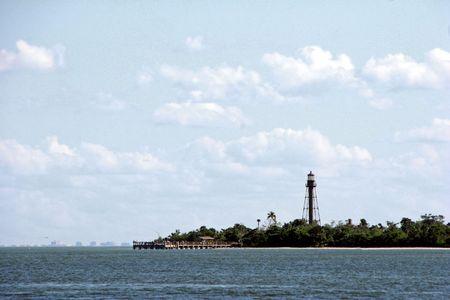 historic lighthouse at midday Sanibel Island Florida photo