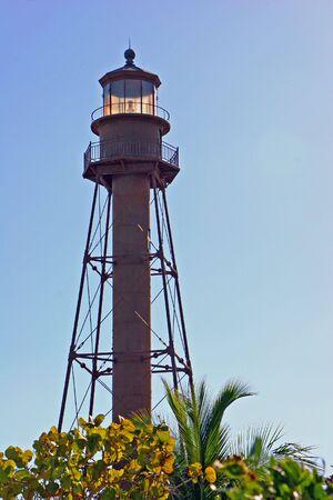 midday: historic lighthouse at midday Sanibel Island Florida Stock Photo